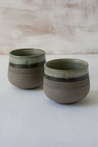 Green Sage Chai Cups, Set of 2 - Mad About Pottery - Mugs and Cups