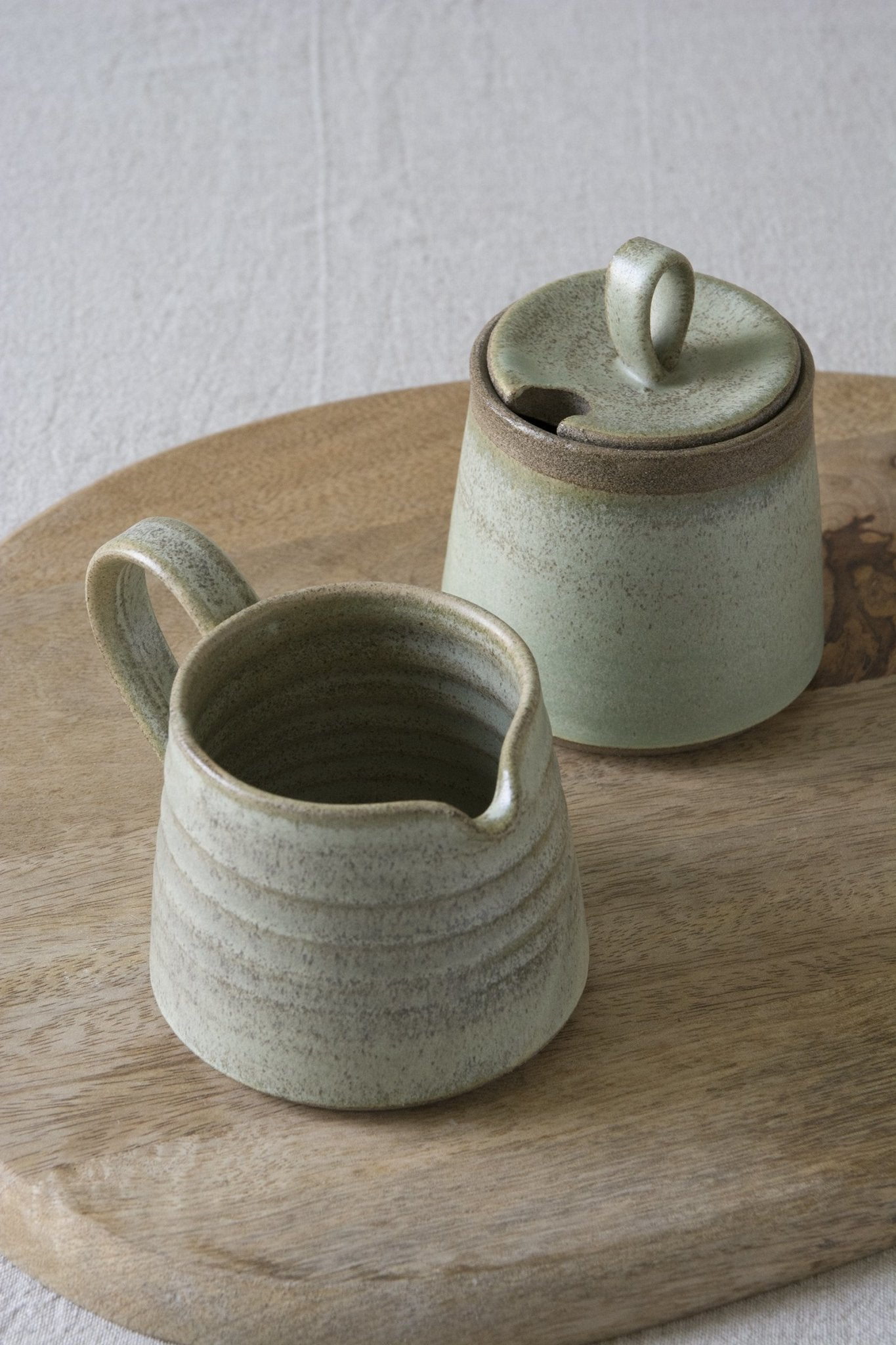 Green Sage Pottery Sugar Bowl and Creamer Set - Mad About Pottery - Sugar Bowl set