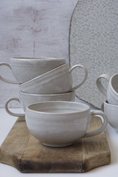 Hand-Thrown White Cappuccino Cup & Saucer - Mad About Pottery- Mug