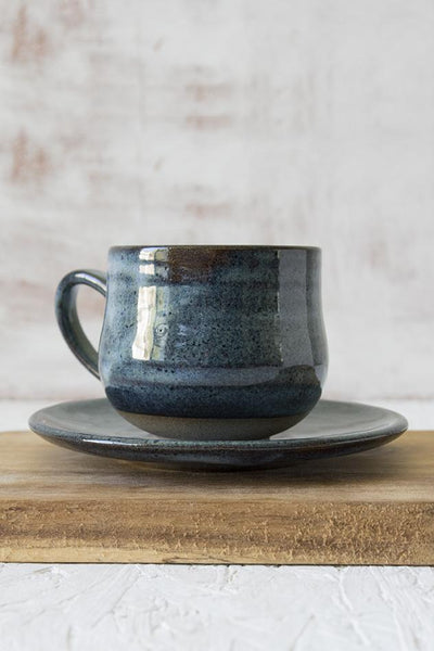 Handmade Ceramic Blue Cappuccino Cup - Mad About Pottery - Mug