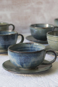 Handmade Pottery Blue Cappuccino Cup & Saucer - Mad About Pottery - Mug