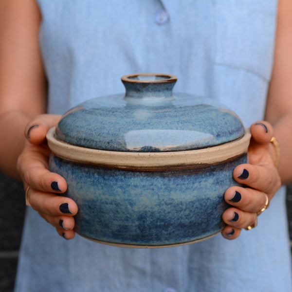 Lidded Blue Ceramic Casserole Dish - Mad About Pottery - plates