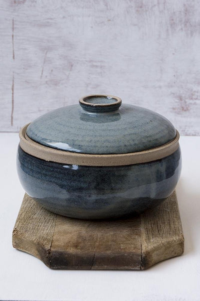 Lidded Blue Ceramic Casserole Dish - Mad About Pottery- plates