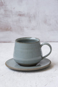 Light Blue Latte Cup and Saucer, 11 fl. oz - Mad About Pottery - cup