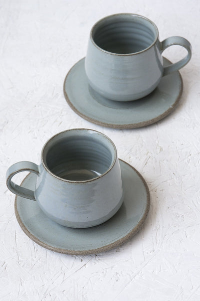 Light Blue Cappuccino Cup and Saucer, 11 fl. oz - Mad About Pottery - cup