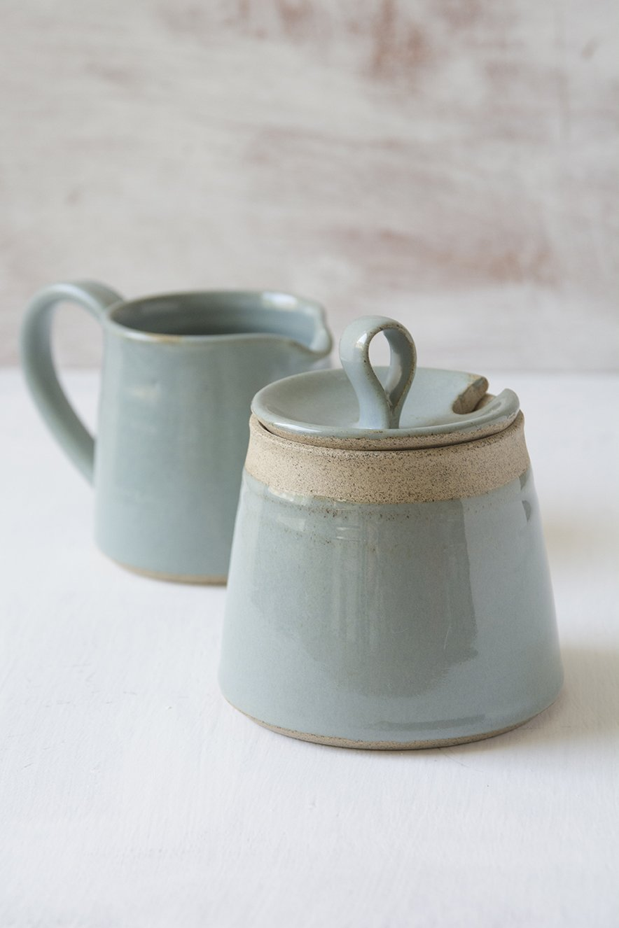 Light Blue Set of a Pottery Sugar Bowl and a Pitcher - Mad About Pottery - Sugar Bowl set