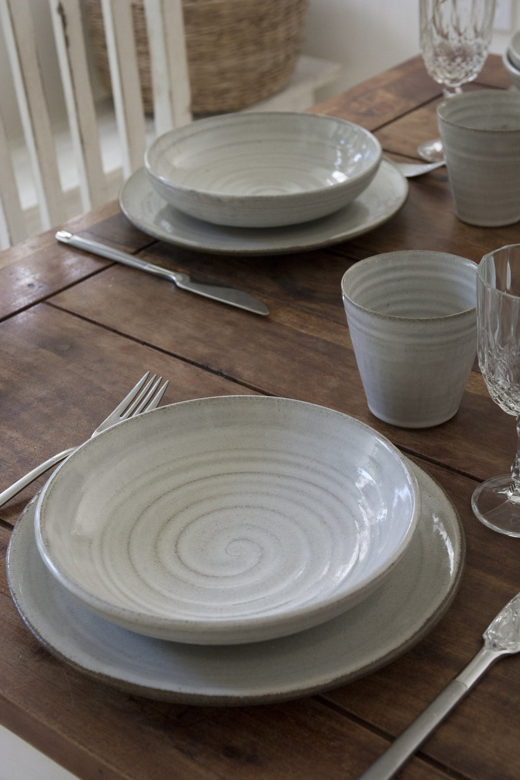Pottery Dinnerware, 1 Place Setting, Main Course Plate and a Pasta Bowl - Mad About Pottery- plates