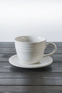 Pottery White Tea Cup and Saucer - Mad About Pottery- Mug