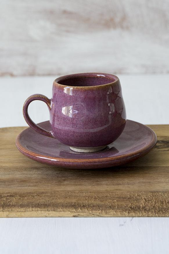 Purple Pottery Espresso Cups, Set of 1 - Mad About Pottery - cup