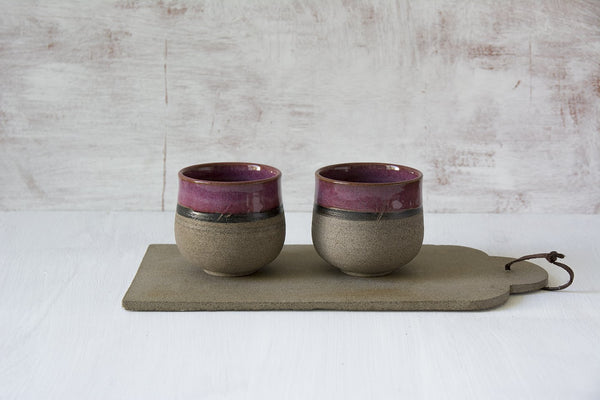 Set of 2 Purple Ceramic Wine Tumblers - Mad About Pottery - Mugs and Cups
