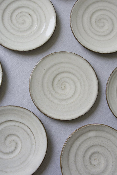 Set of 4 White Dessert Plates - Mad About Pottery - plates