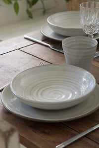 Set of 4 White Pasta Bowls - Mad About Pottery- Bowls