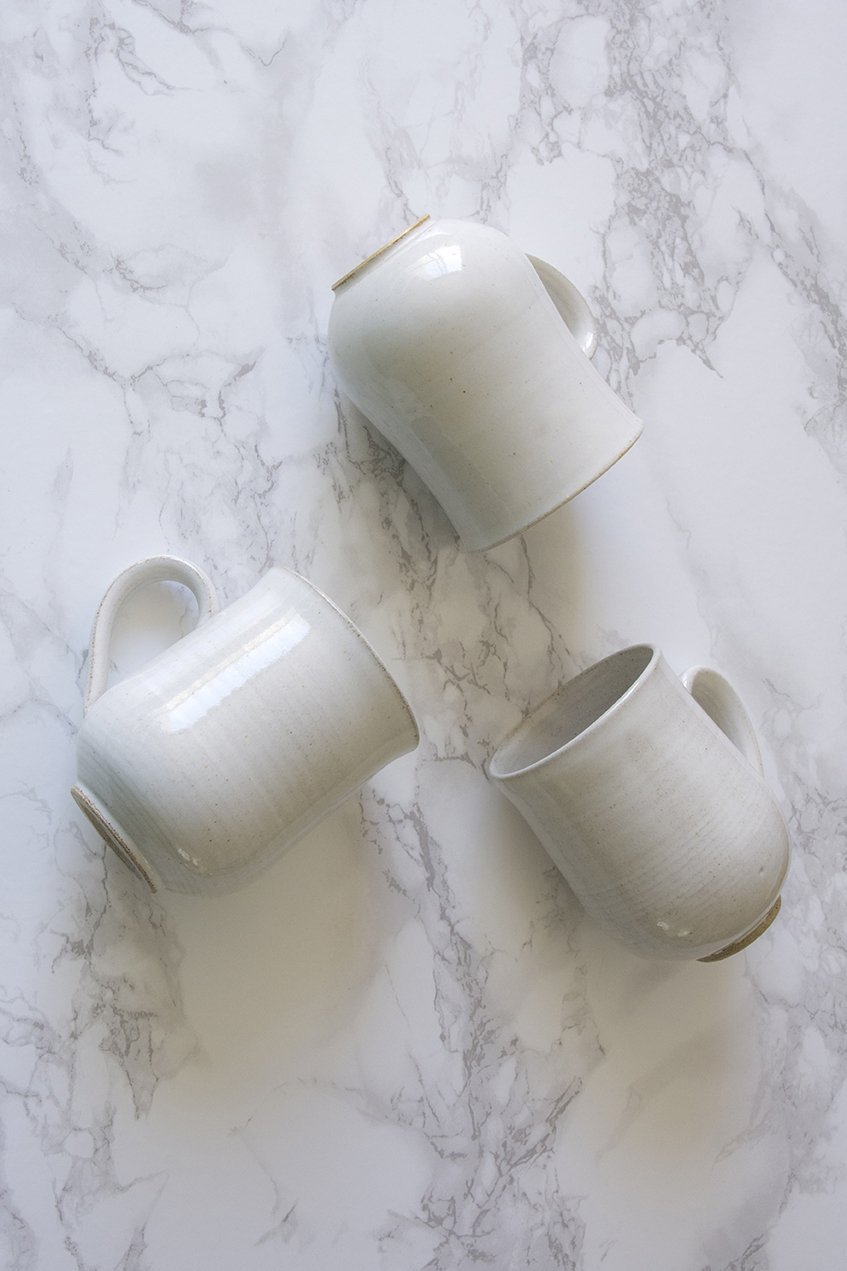 Set of 6 Farmhouse White Pottery Mugs - Mad About Pottery - Mugs and Cups