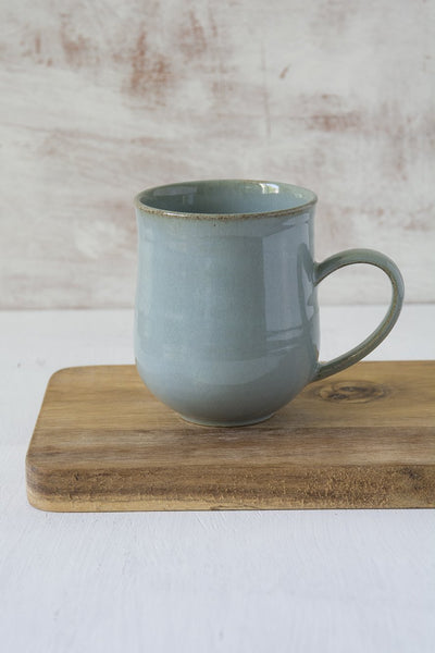 Set of 6 Pottery Coffee Mugs in Light Blue Steel, 10 fl oz - Mad About Pottery - Mugs and Cups