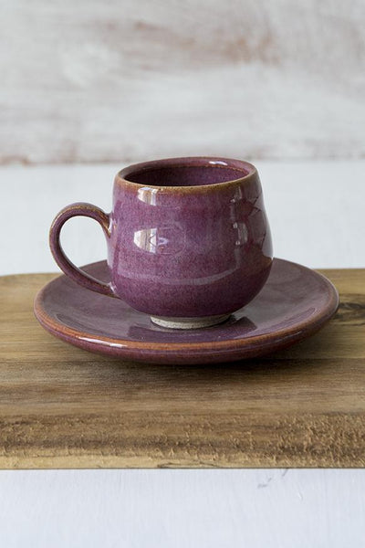 Set of 6 Pottery Espresso Cups in Purple - Mad About Pottery - cup