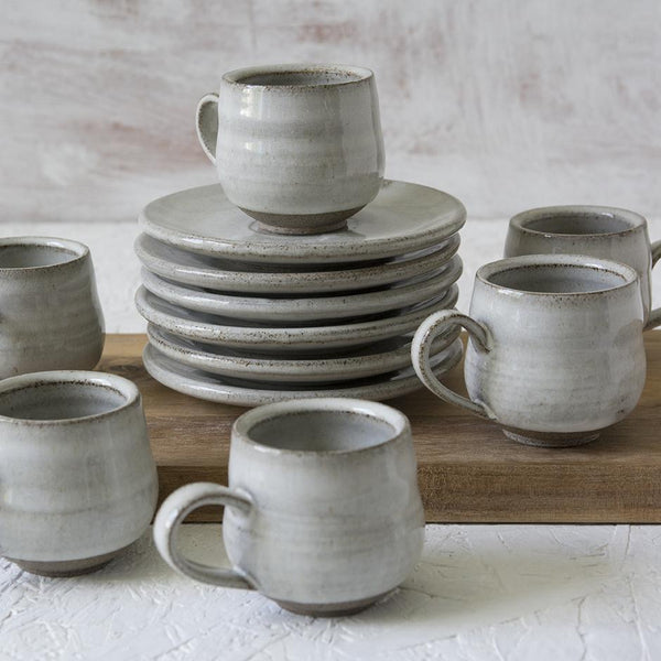 Set of 6 Pottery Espresso Cups in White - Mad About Pottery - cup
