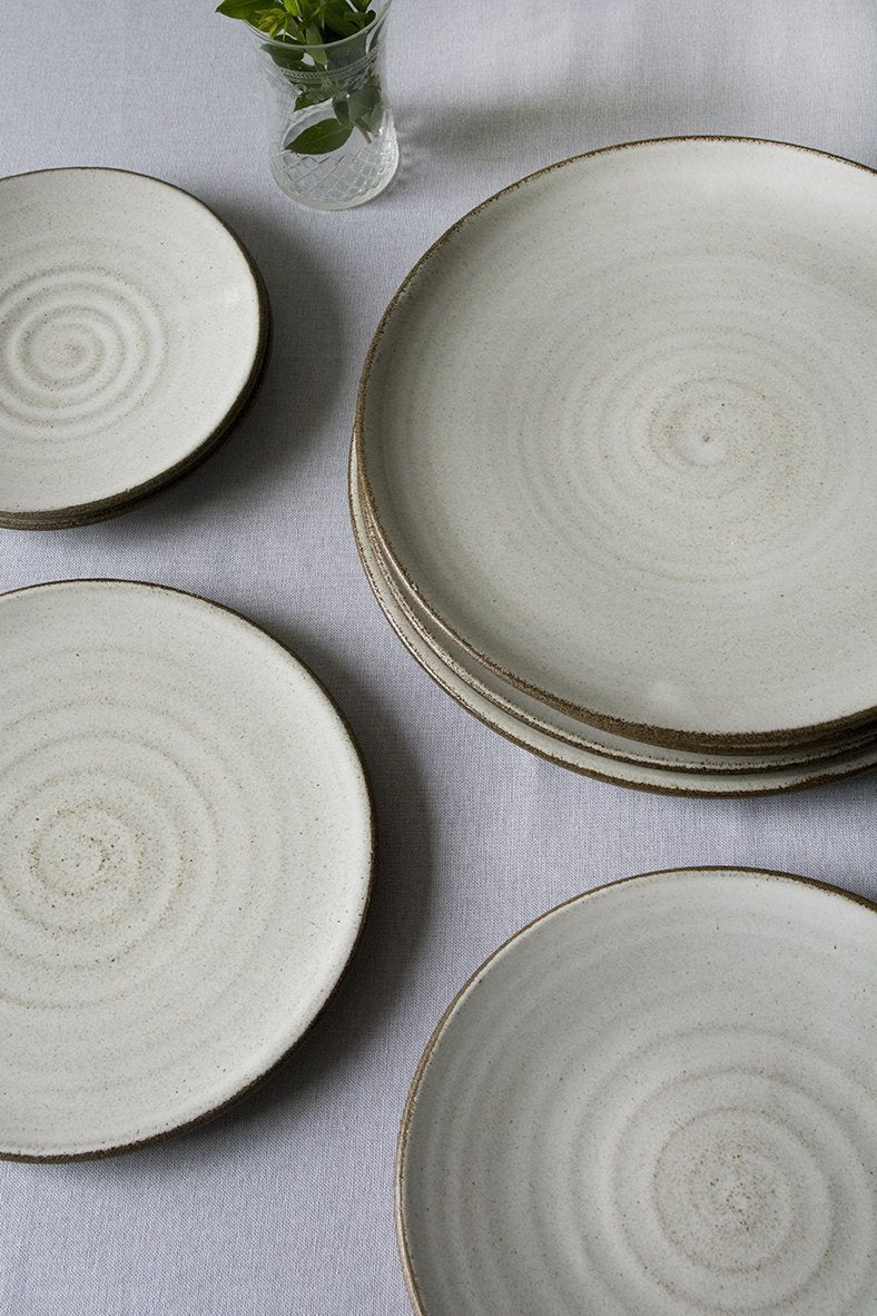 Set of 6 White Large Pottery Dinner Plates - Mad About Pottery- plates