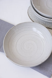 Set of 6 White Pasta Bowls - Mad About Pottery- Bowls