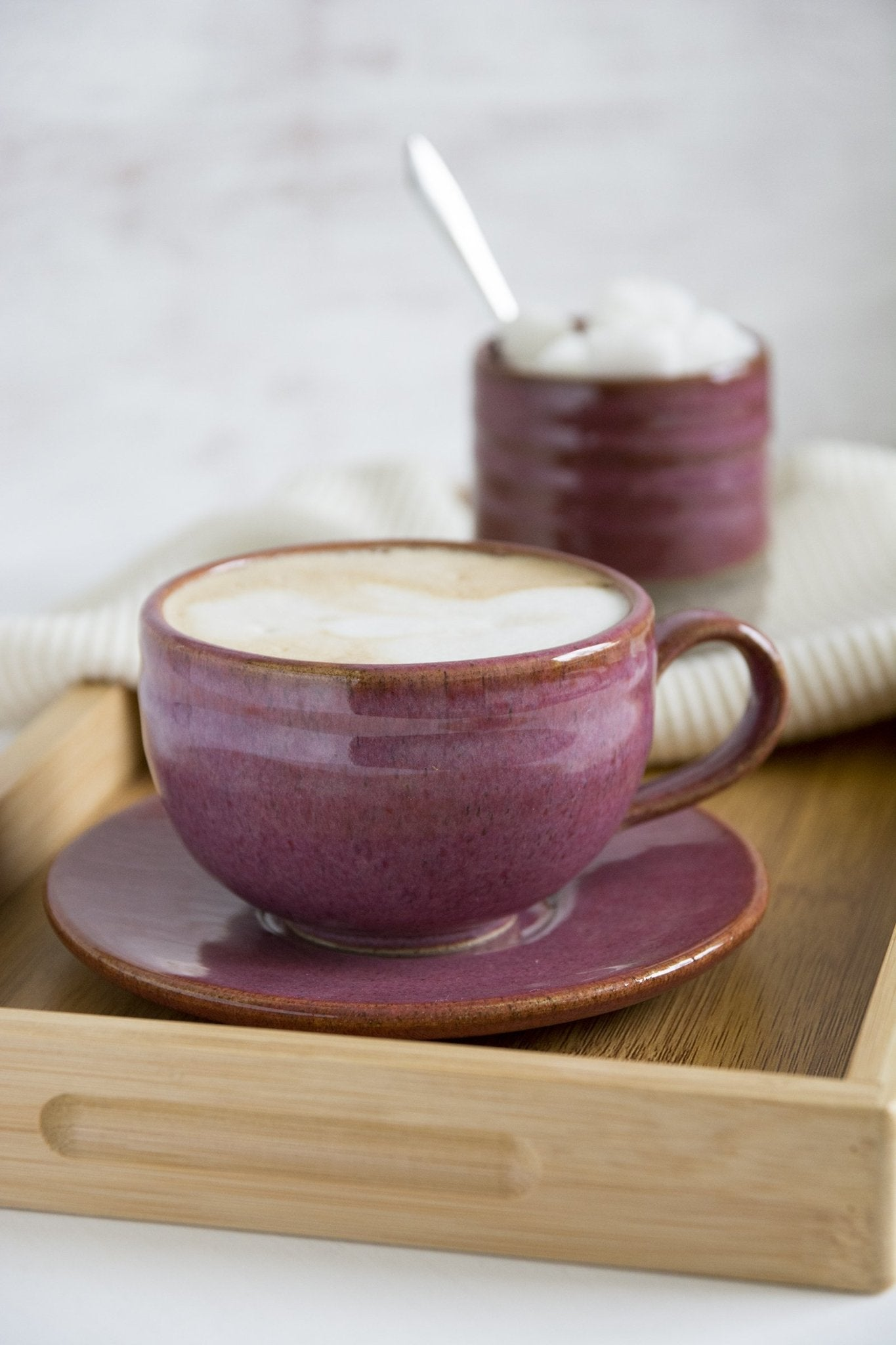 Stoneware Purple Tea cup & Saucer - Mad About Pottery - Mug