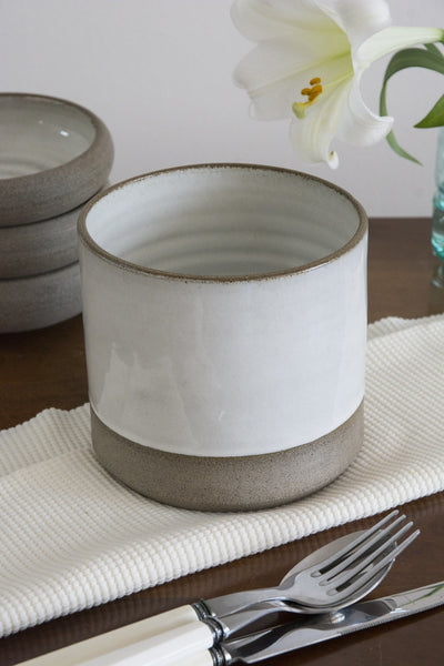 White and Gray Utensil crock - Mad About Pottery - Utensil Holder