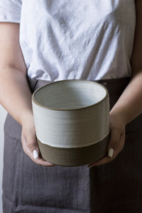 White and Gray Utensil crock - Mad About Pottery- Utensil Holder
