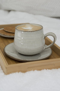 White Cappuccino Cup and Saucer, 11 fl. oz - Mad About Pottery - cup