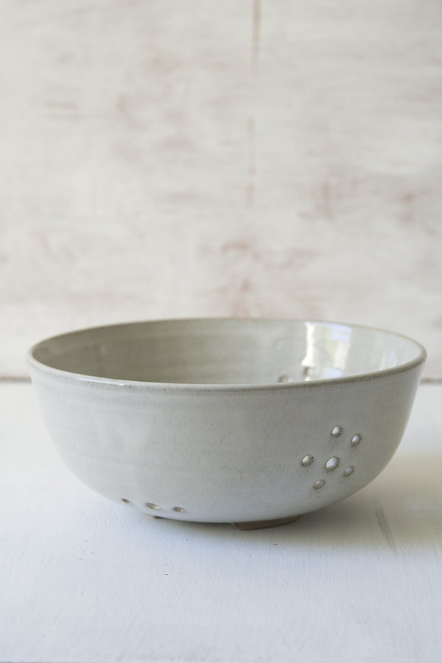 White Ceramic Berry Colander - Mad About Pottery - colander
