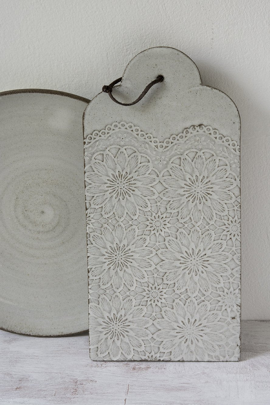 White Farmhouse Ceramic Cheese Board - Mad About Pottery - cheese board