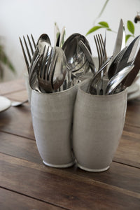 White Flatware Caddy - Mad About Pottery- Utensil Holder