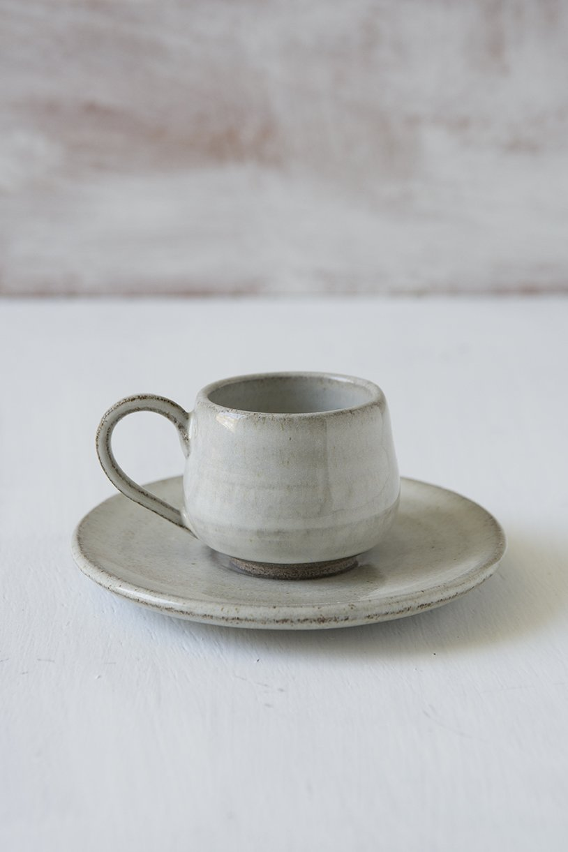 White Pottery Espresso Cup With Saucer - Mad About Pottery - cup