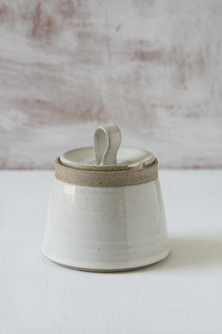 White Pottery Sugar Bowl - Mad About Pottery - Sugar Bowl
