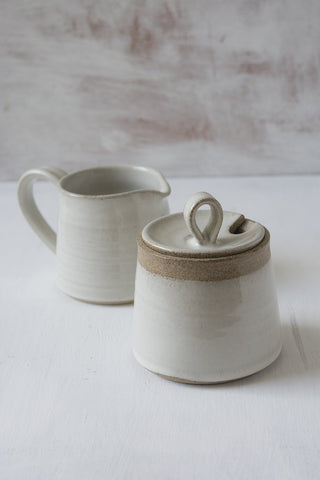 White Pottery Sugar Bowl and Creamer Set - Mad About Pottery - Sugar Bowl set
