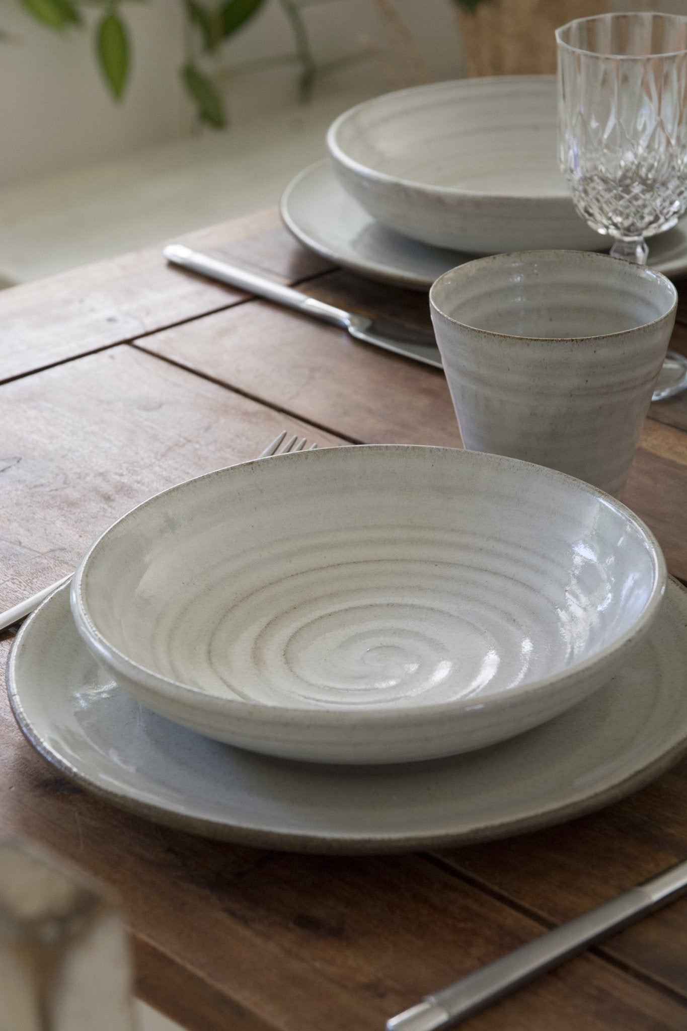 White Rustic Pasta Bowl - Mad About Pottery- Bowl