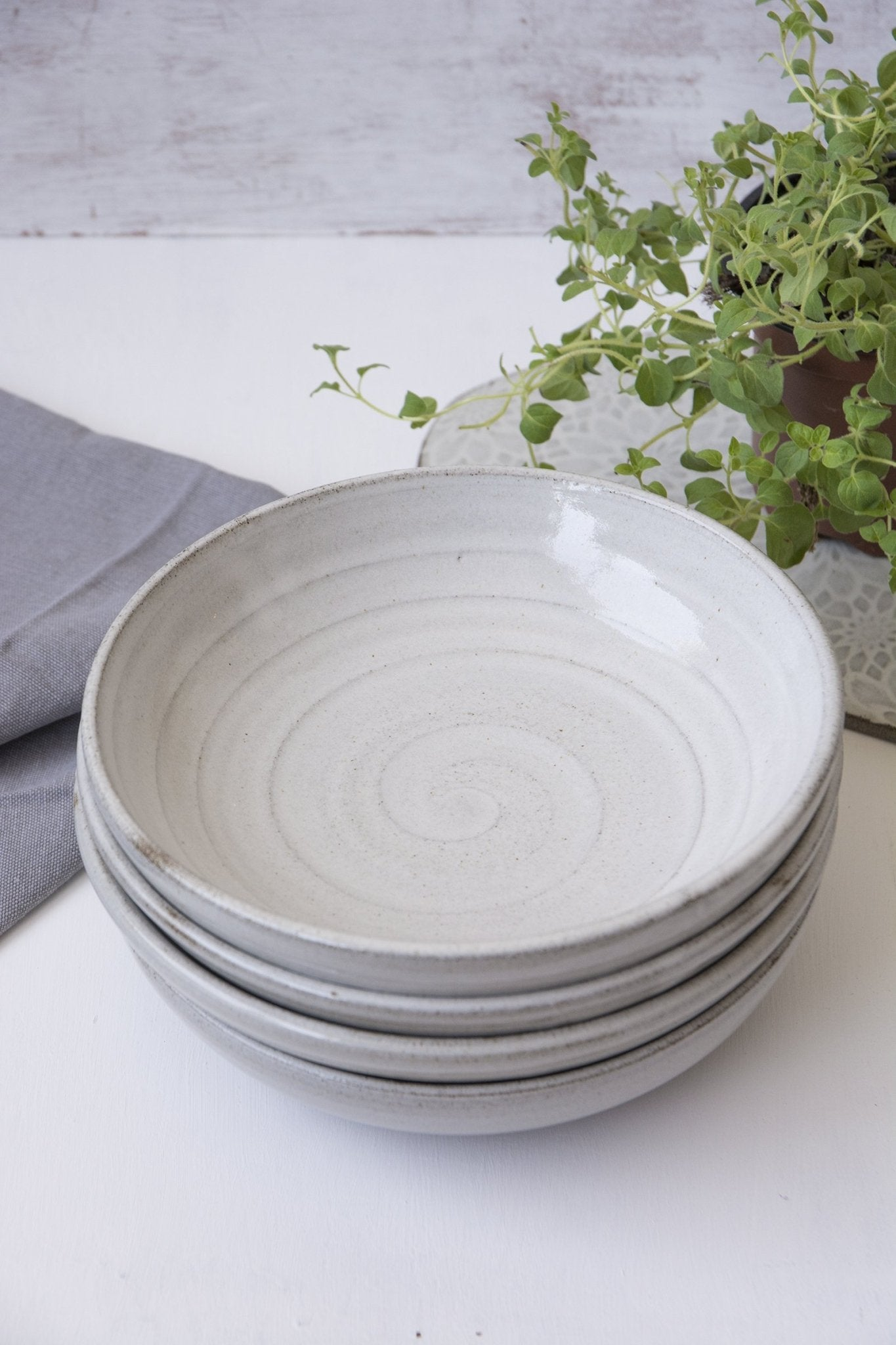 White Rustic Pasta Bowl - Mad About Pottery - Bowl