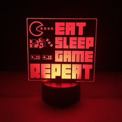 eat sleep game repeat led lamp night light gaming merchandise accessories