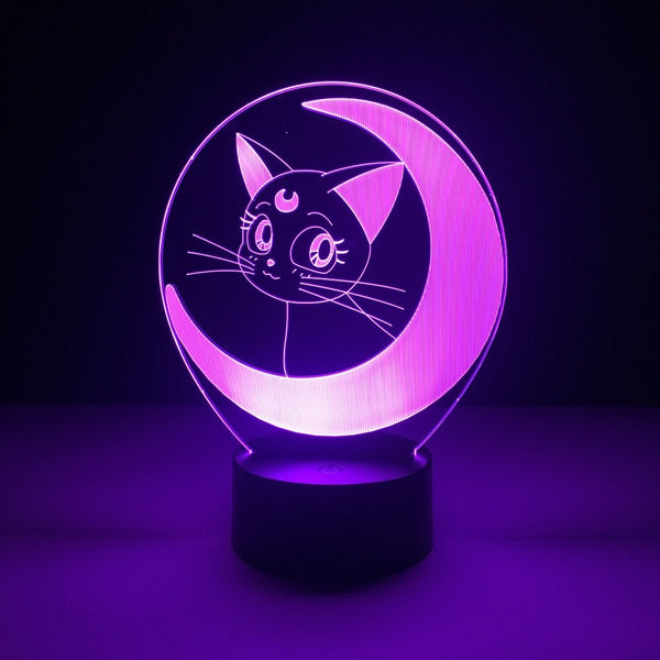 sailor moon luna led lamp night light anime merchandise accessories