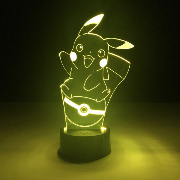 pokemon pikachu led lamp night light anime merchandise accessories