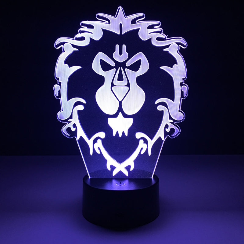 wow world of warcraft alliance led lamp night light gaming merchandise accessories