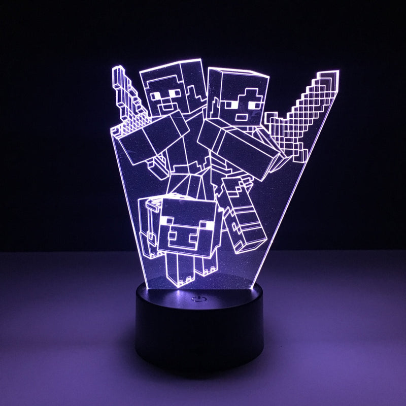 minecraft characters led lamp night light