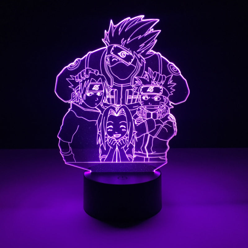 naruto team 7 led lamp night light anime merchandise accessories