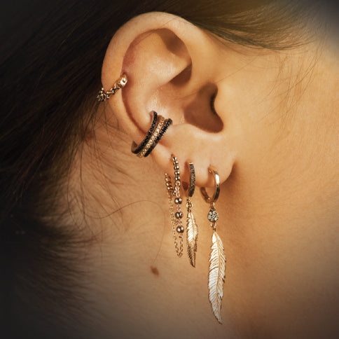 Midi Feather Drop Diamond Earring
