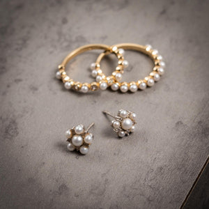 Pearl and Stone Cluster Stud