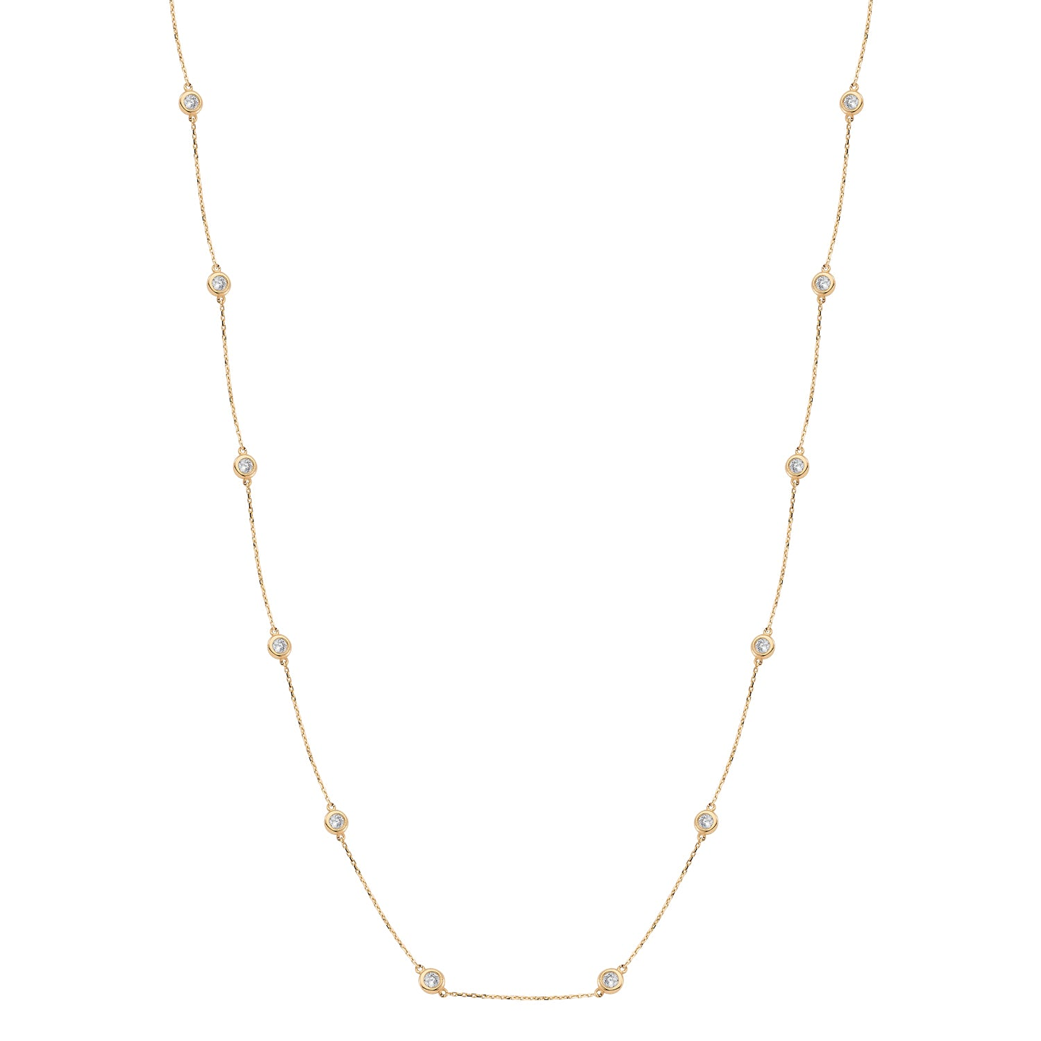 Single Integrated Stone Extra Long Necklace Zirconia