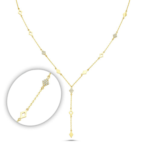 Parallelogram Medium 3 drop chain lariette Zirconia