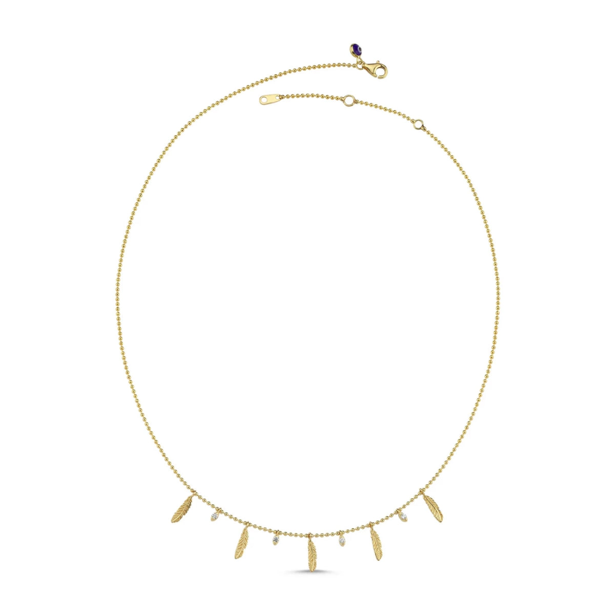 Feather and Dot Layering Necklace