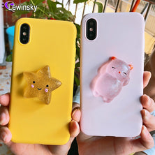 Squishy Cat Soft Phone Case for iPhone 5 5S SE X XR XS