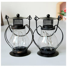 Portable Metal Lantern with 2 Colors Candle Holders