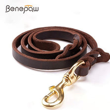 Benepaw High-end Cowhide Leather Leash Dog