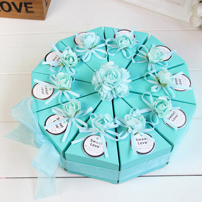 50pcs Pink / Blue Triangular Cake Style Wedding Favors Candy Boxes