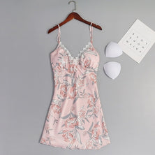 Women Satin Silk Lace Nightgown Robe Dress
